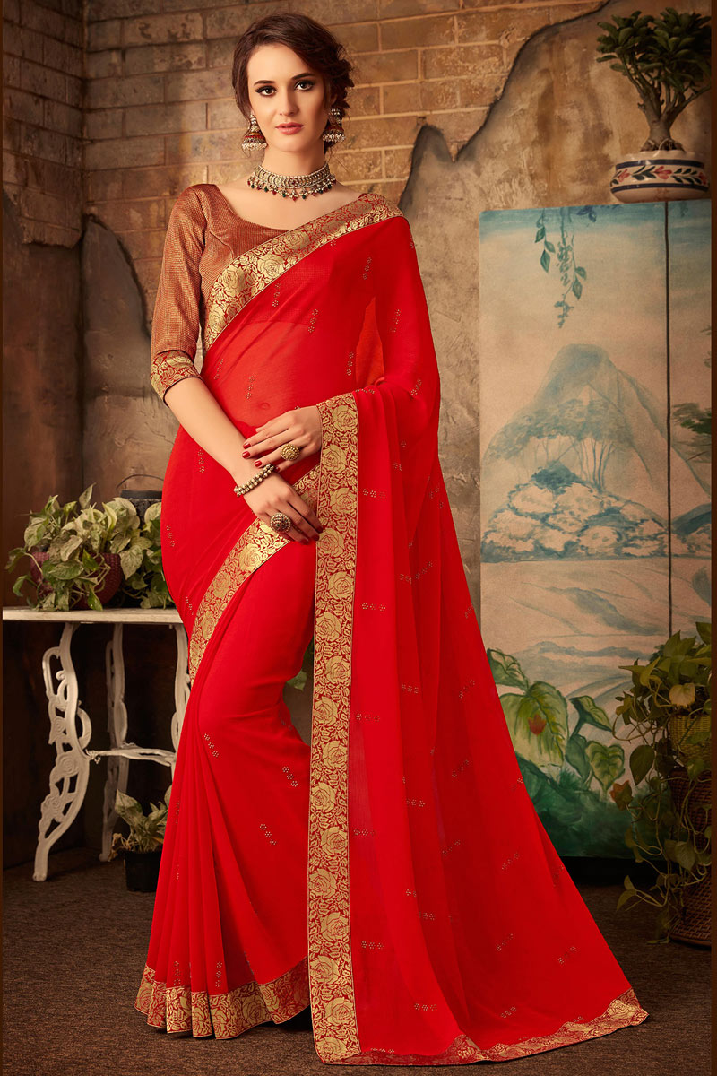 Border Work Chiffon Fabric Party Wear Saree In Red Color