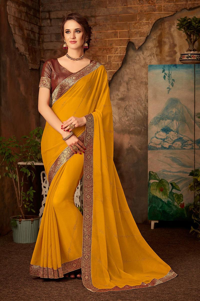 Border Work Designs Chiffon Fabric Mustard Color Party Wear Saree