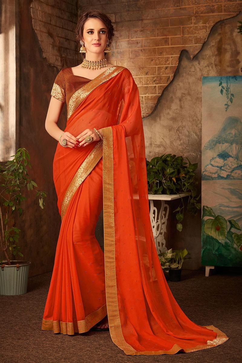 Border Work Chiffon Fabric Orange Color Function Wear Saree