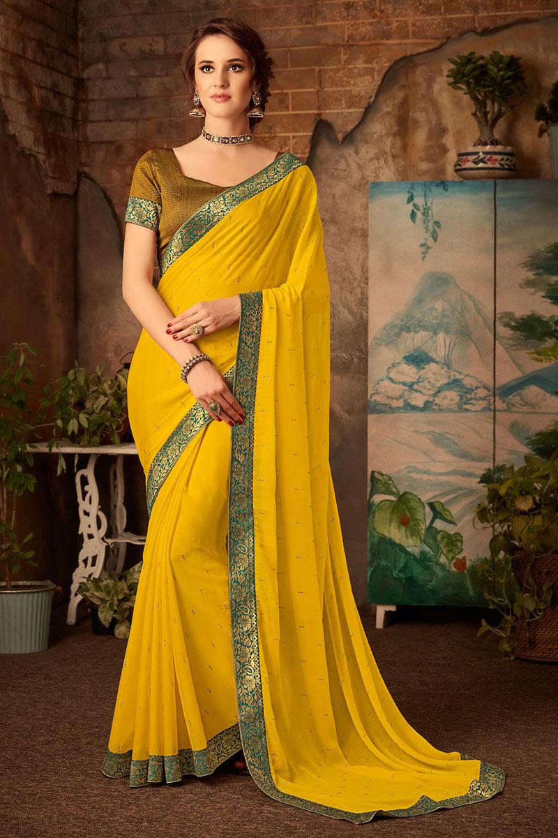 Yellow Color Chiffon Fabric Saree With Border Work Designs