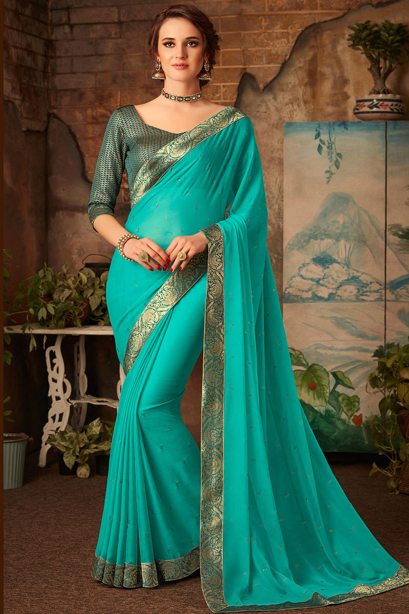 Chiffon Fabric Cyan Color Party Wear Saree With Border Work