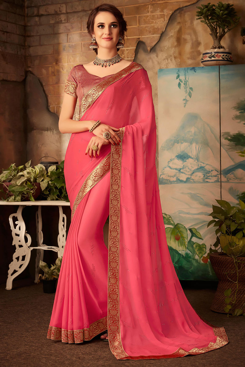 Pink Color Chiffon Fabric Fancy Saree With Border Work Designs