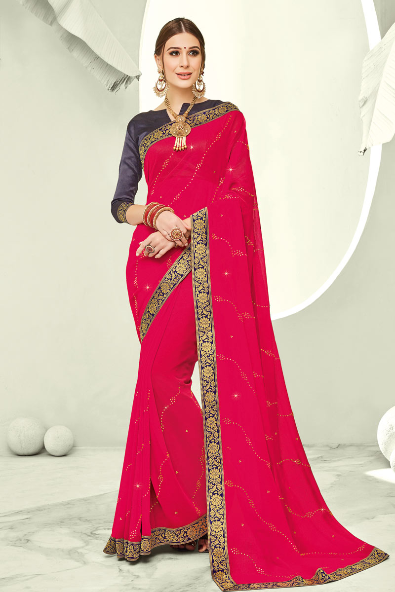 Chiffon Fabric Lace Work Traditional Rani Color Saree For Festive Wear