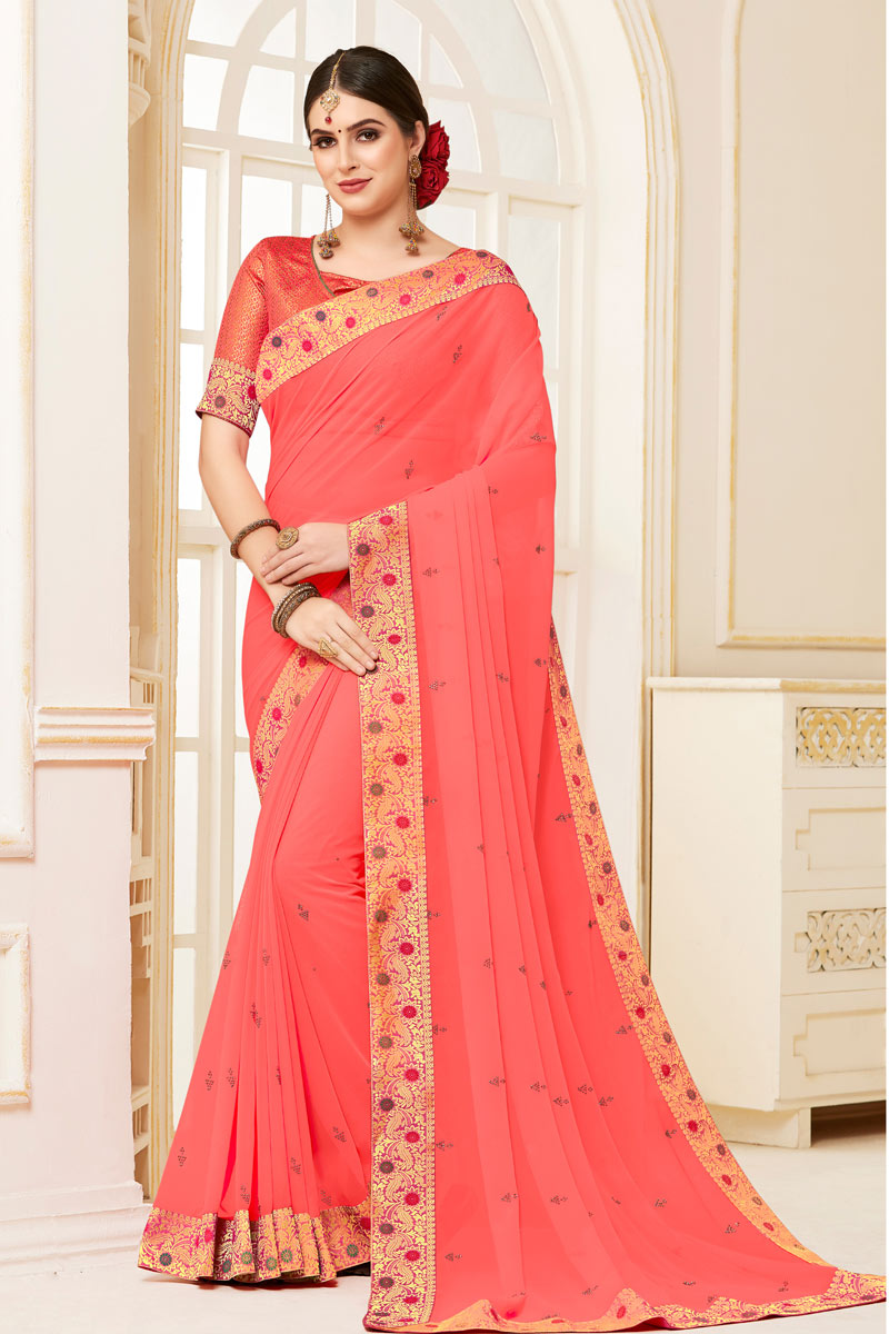 Pink Color Georgette Fabric Saree With Border Work Designs