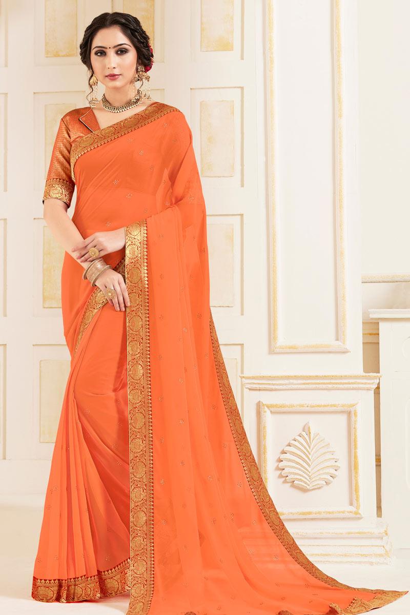 Georgette Fabric Border Work Orange Color Occasion Wear Saree