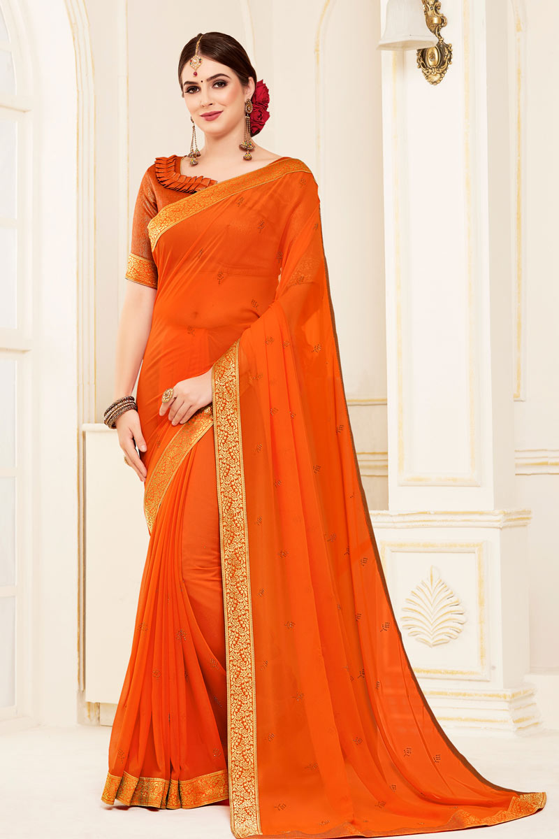 Orange Color Georgette Fabric Saree With Border Work Designs