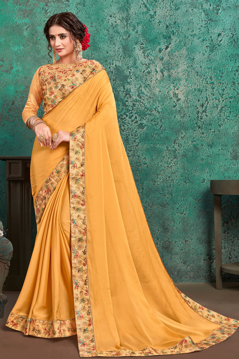 Coffee Color Georgette Fabric Function Wear Saree With Border Work And Astounding Blouse