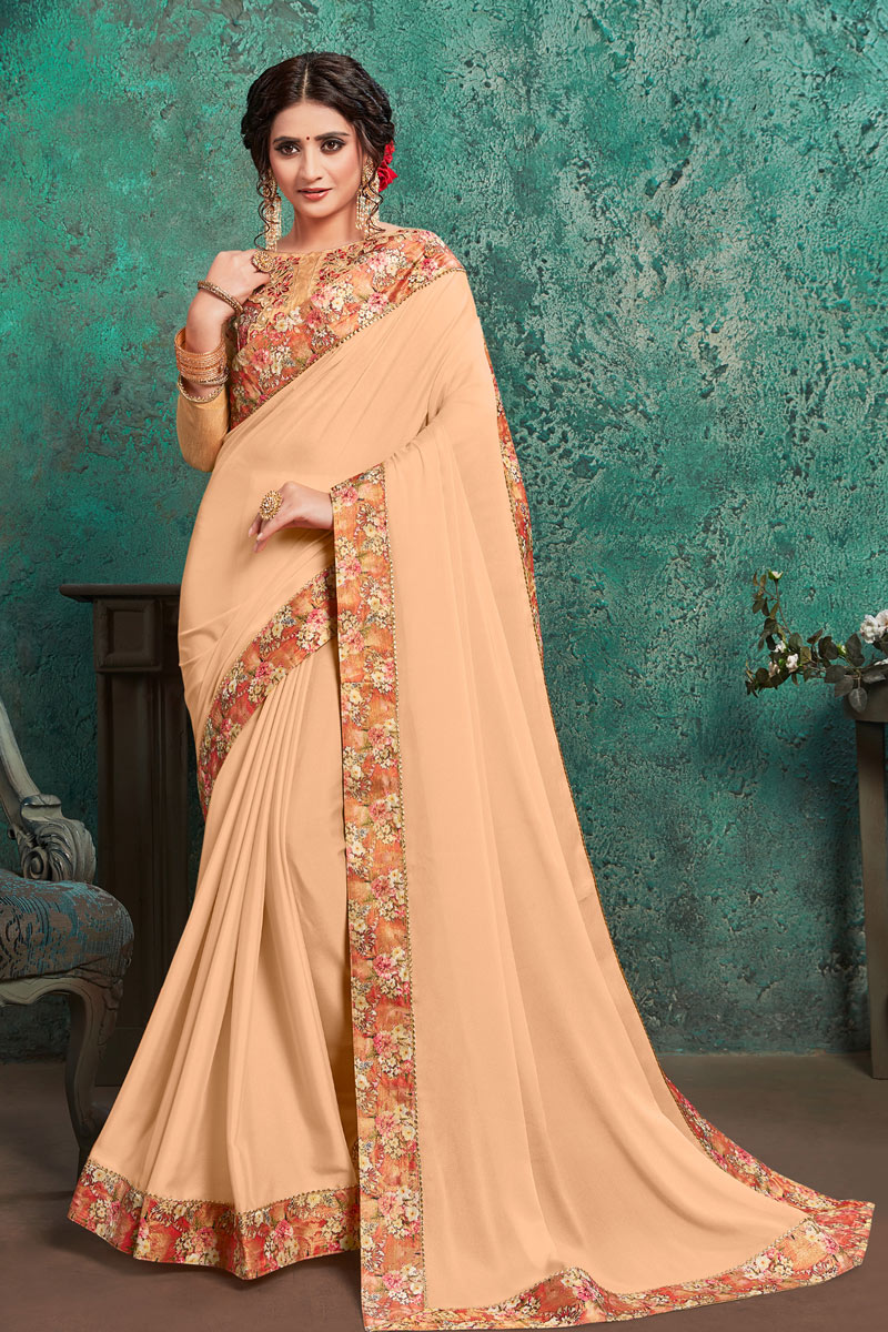 Georgette Fabric Chikoo Color Festive Saree With Border Work And Gorgeous Blouse
