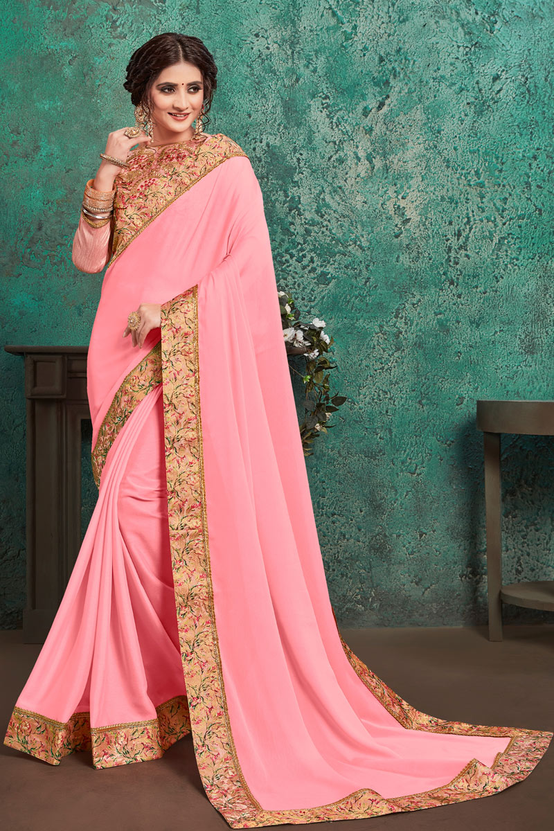 Border Work On Occasion Wear Saree In Pink Color With Designer Blouse