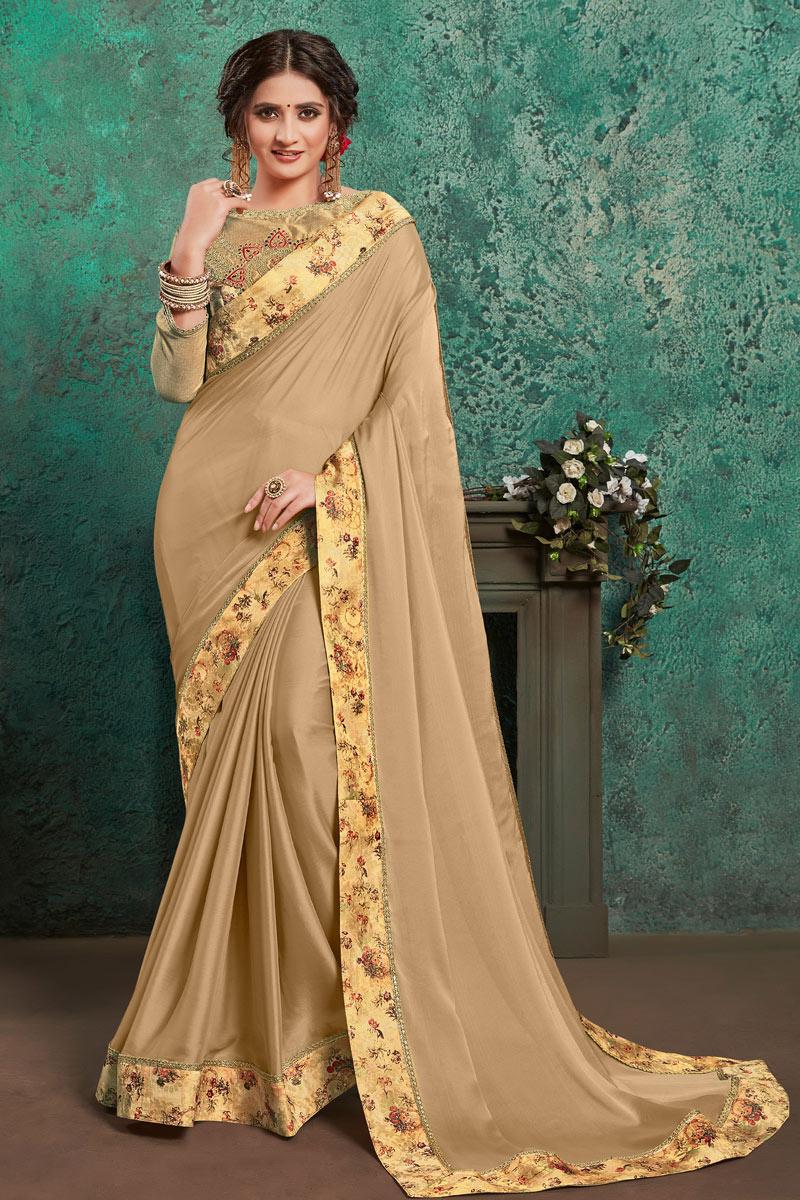Cream Color Designer Border Work Saree In Georgette Fabric With Admirable Blouse