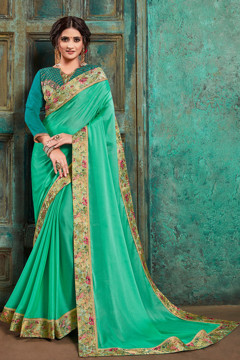 Light Teal Color Border Work Festive Wear Saree In Georgette Fabric