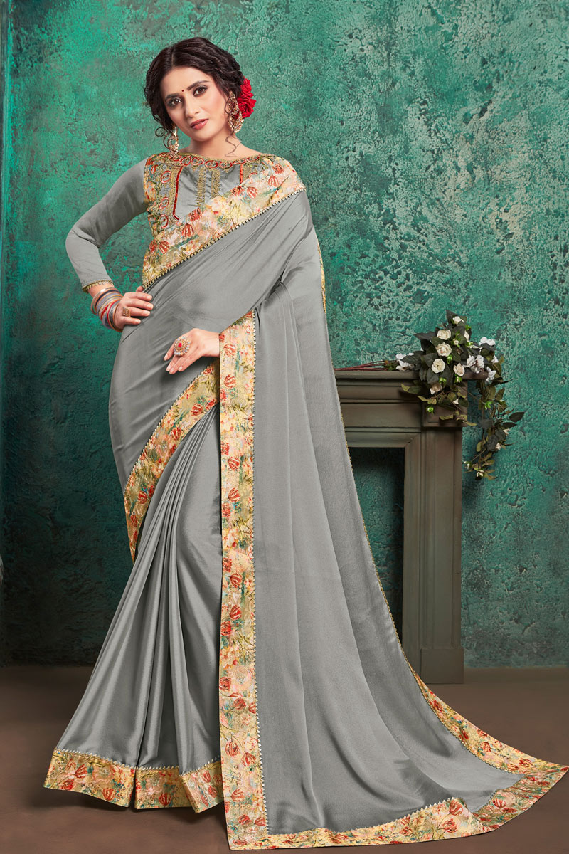Georgette Fabric Grey Color Occasion Wear Saree With Border Work And Attractive Blouse