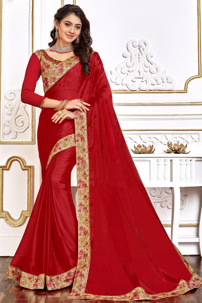 Red Color Festive Wear Art Silk Fabric Chic Border Work Saree