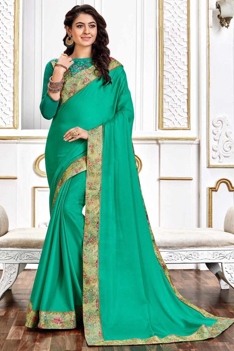 Art Silk Fabric Festive Wear Chic Border Work Saree In Cyan Color