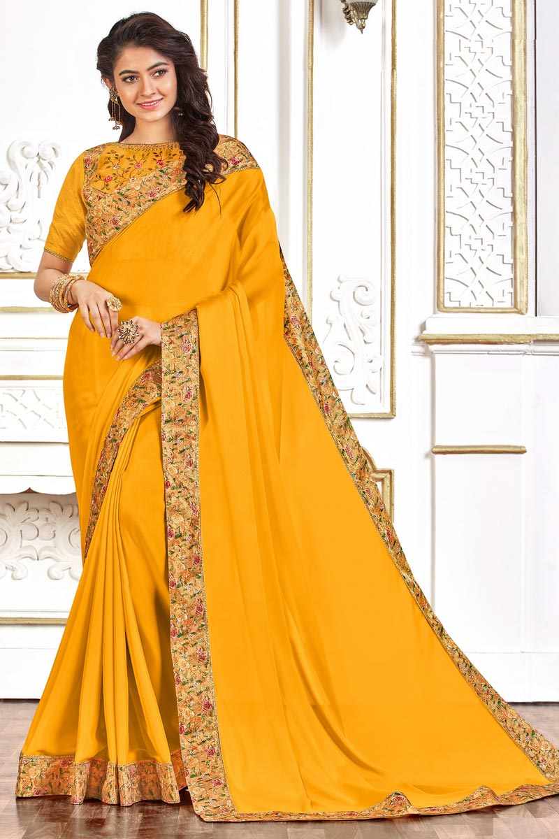 Festive Wear Yellow Color Chic Art Silk Fabric Border Work Saree