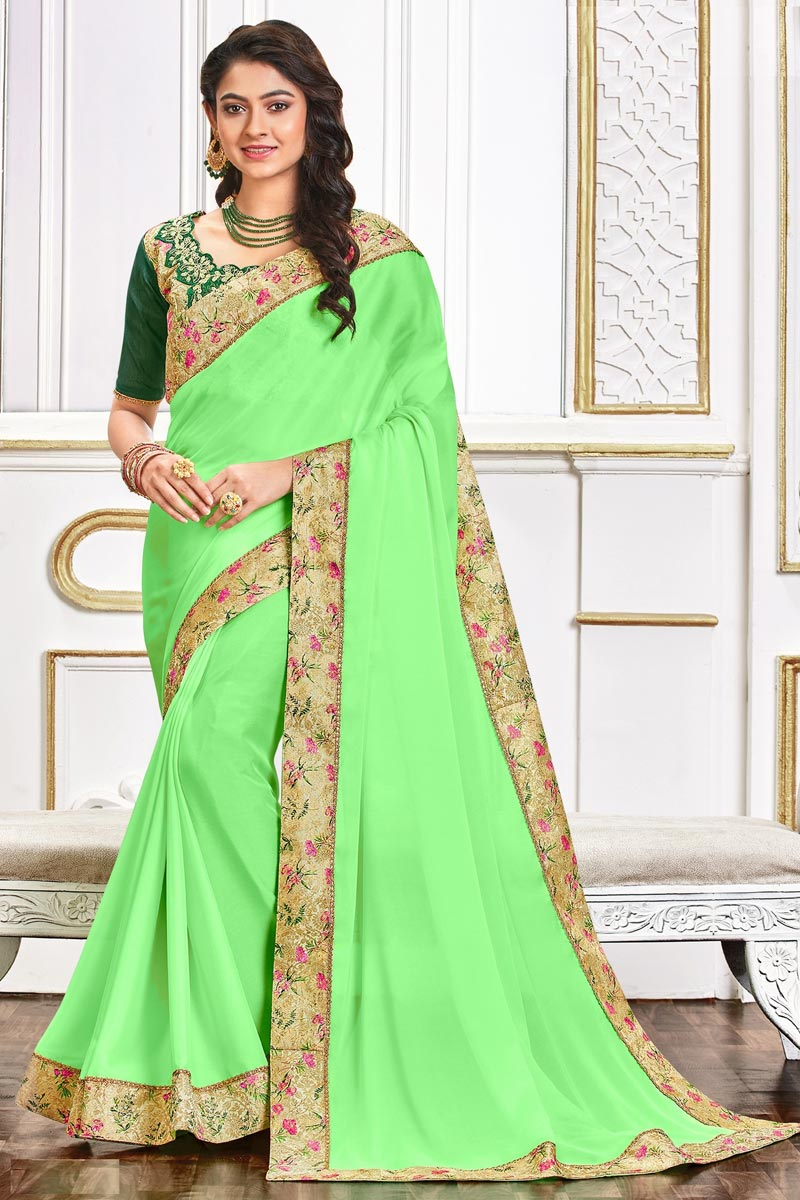 Festive Wear Art Silk Fabric Chic Border Work Saree In Sea Green Color