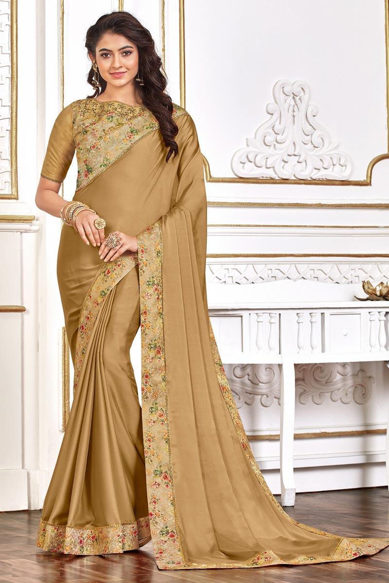 Cream Color Festive Wear Chic Art Silk Fabric Border Work Saree