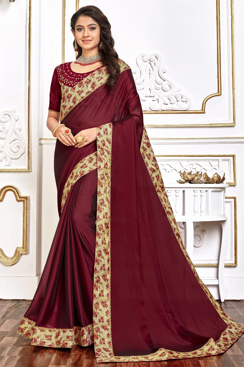 Burgundy Color Chic Festive Wear Art Silk Fabric Border Work Saree