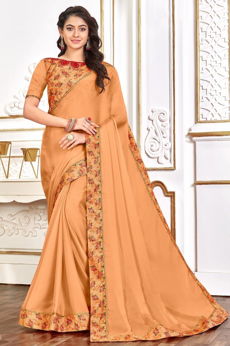 Festive Wear Chic Art Silk Fabric Border Work Saree In Orange Color