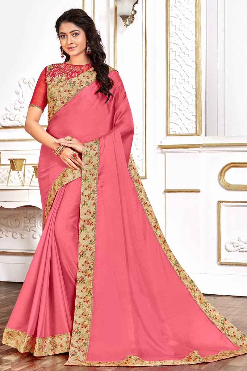 Festive Wear Art Silk Fabric Chic Pink Color Border Work Saree
