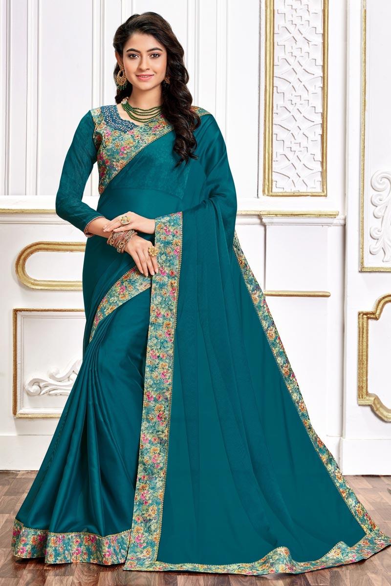 Art Silk Fabric Chic Festive Wear Teal Color Border Work Saree