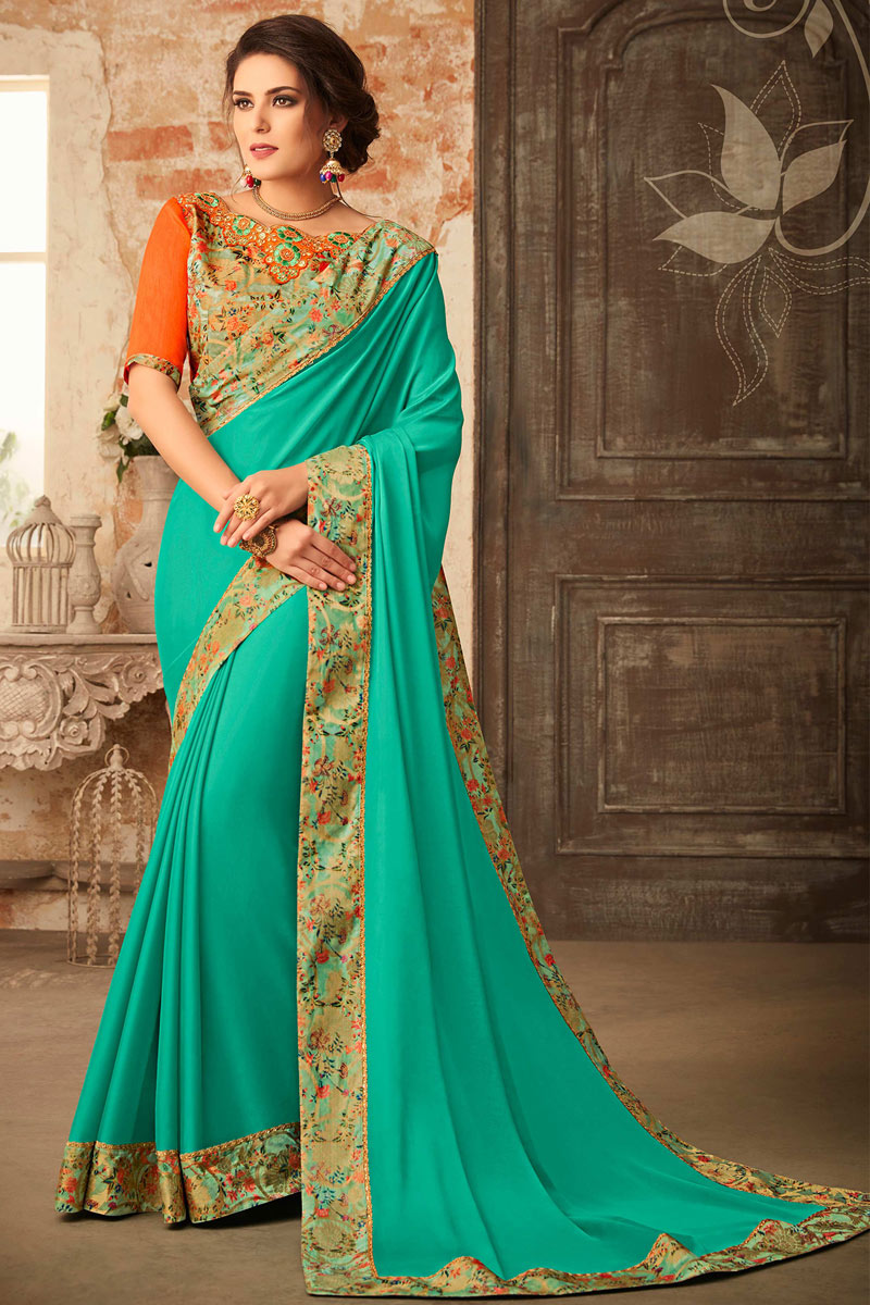 Occasion Wear Georgette Fabric Border Work Saree In Light Turquoise With Designer Blouse