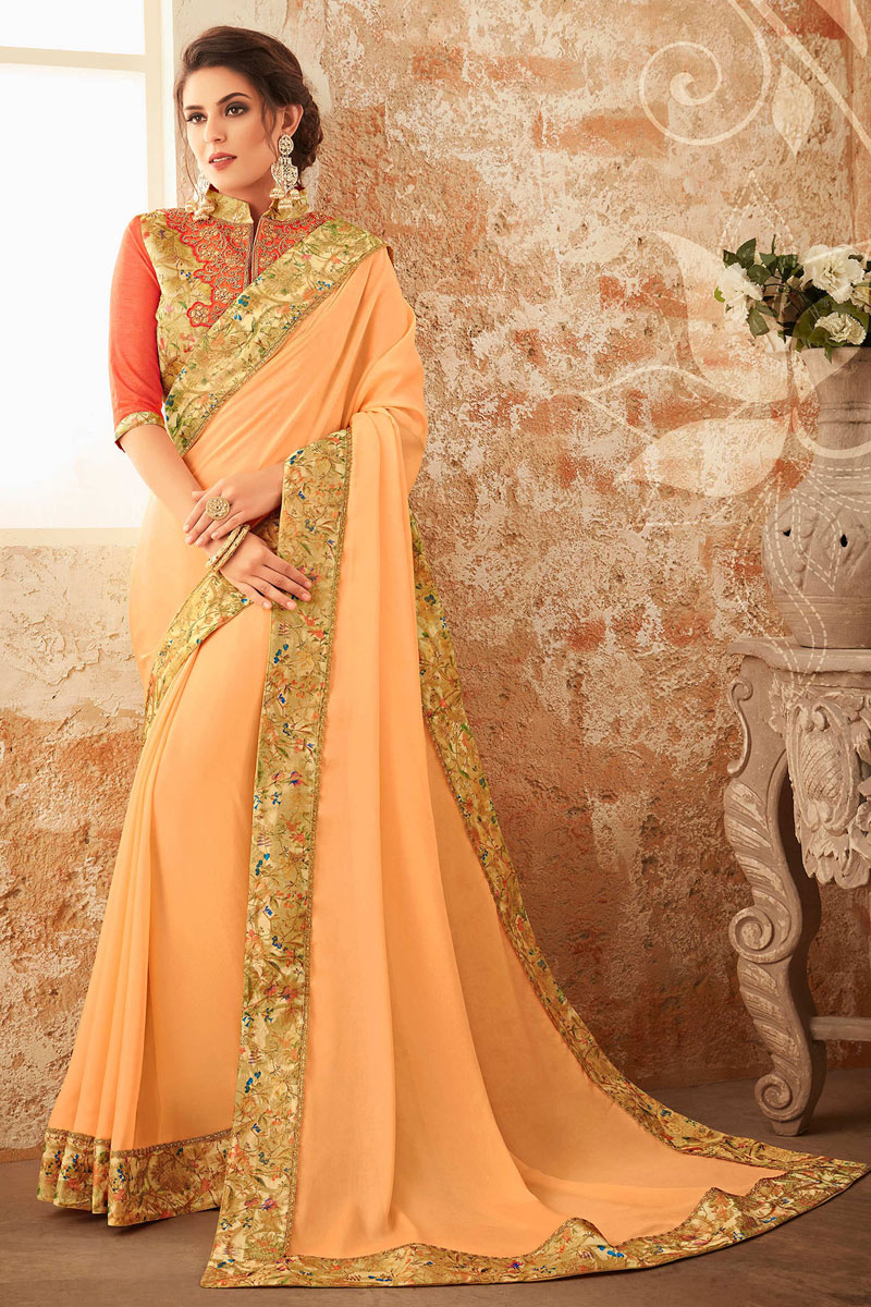 Border Work On Georgette Fabric Beige Function Wear Saree With Marvelous Blouse