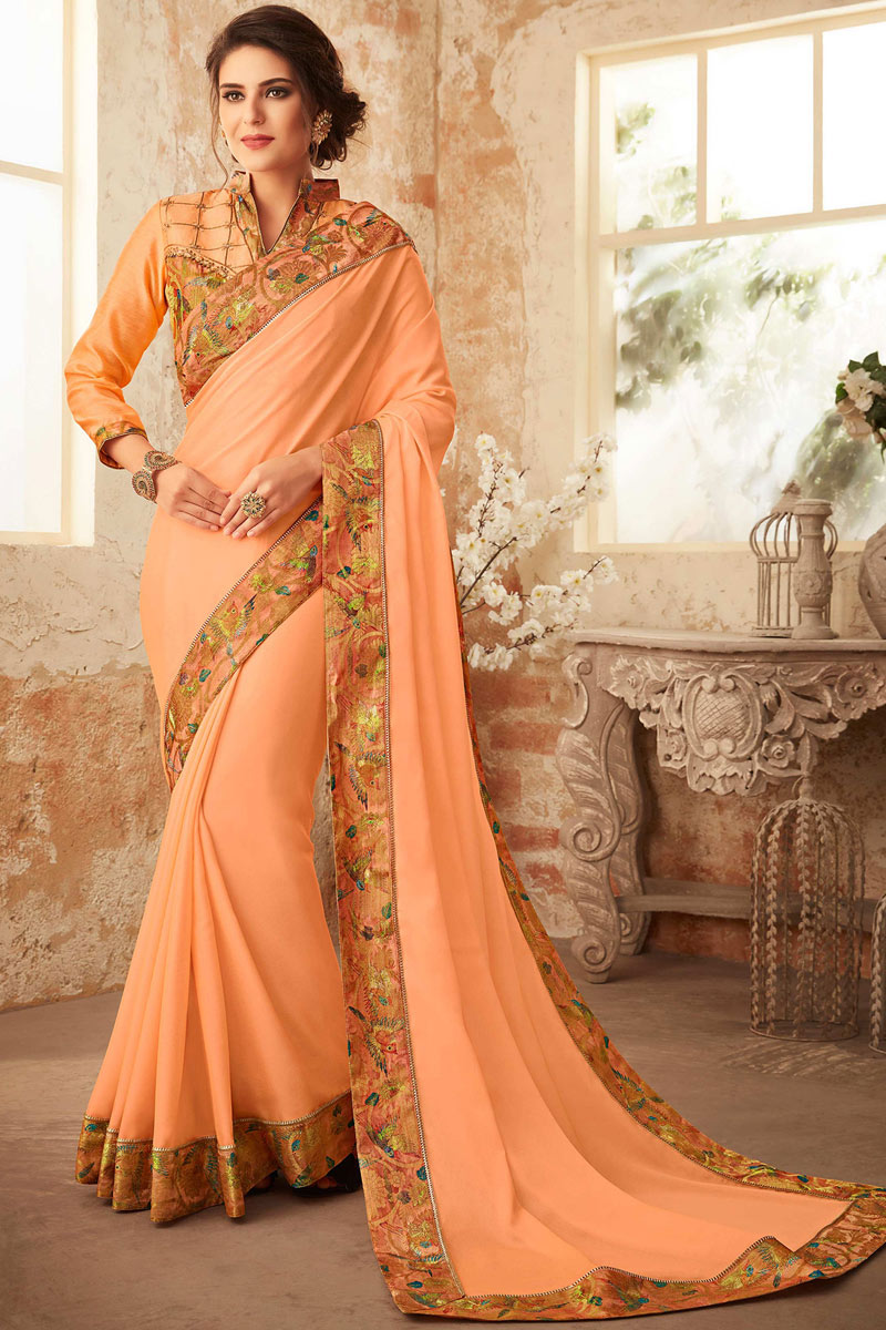 Peach Georgette Fabric Function Wear Saree With Border Work And Astounding Blouse