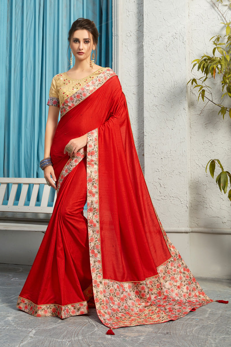 Art Silk Fabric Red Color Festive Wear Saree With Border Work And Attractive Blouse