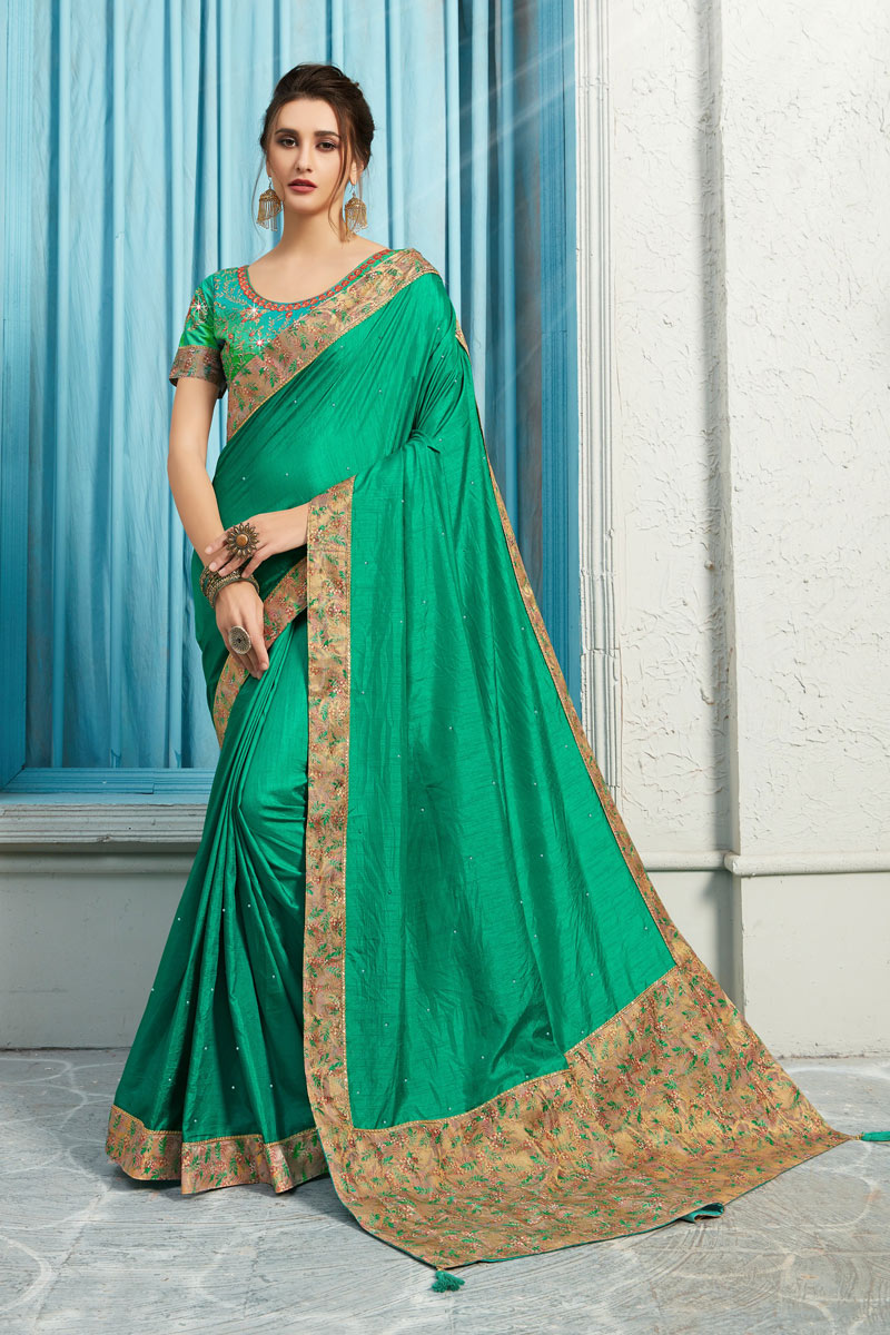 Occasion Wear Art Silk Fabric Border Work Saree In Teal Color With Designer Blouse