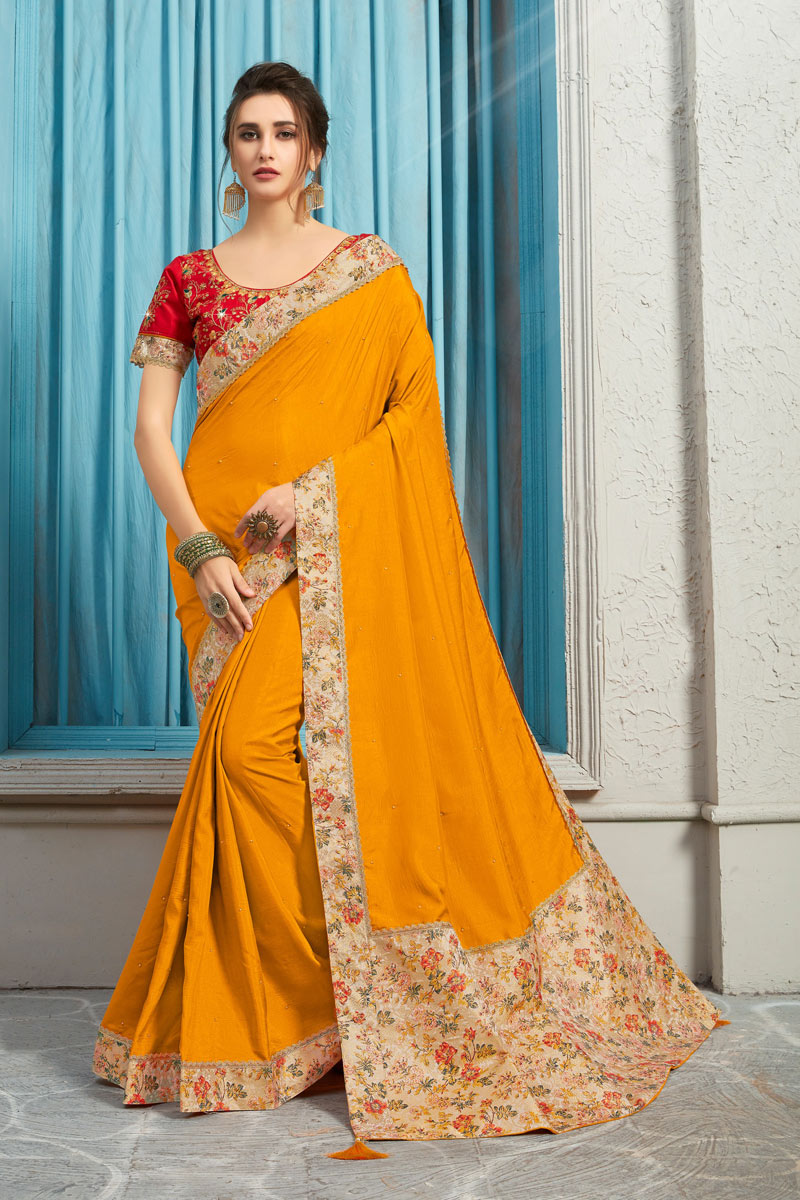 Border Work On Art Silk Fabric Orange Color Function Wear Saree With Marvelous Blouse