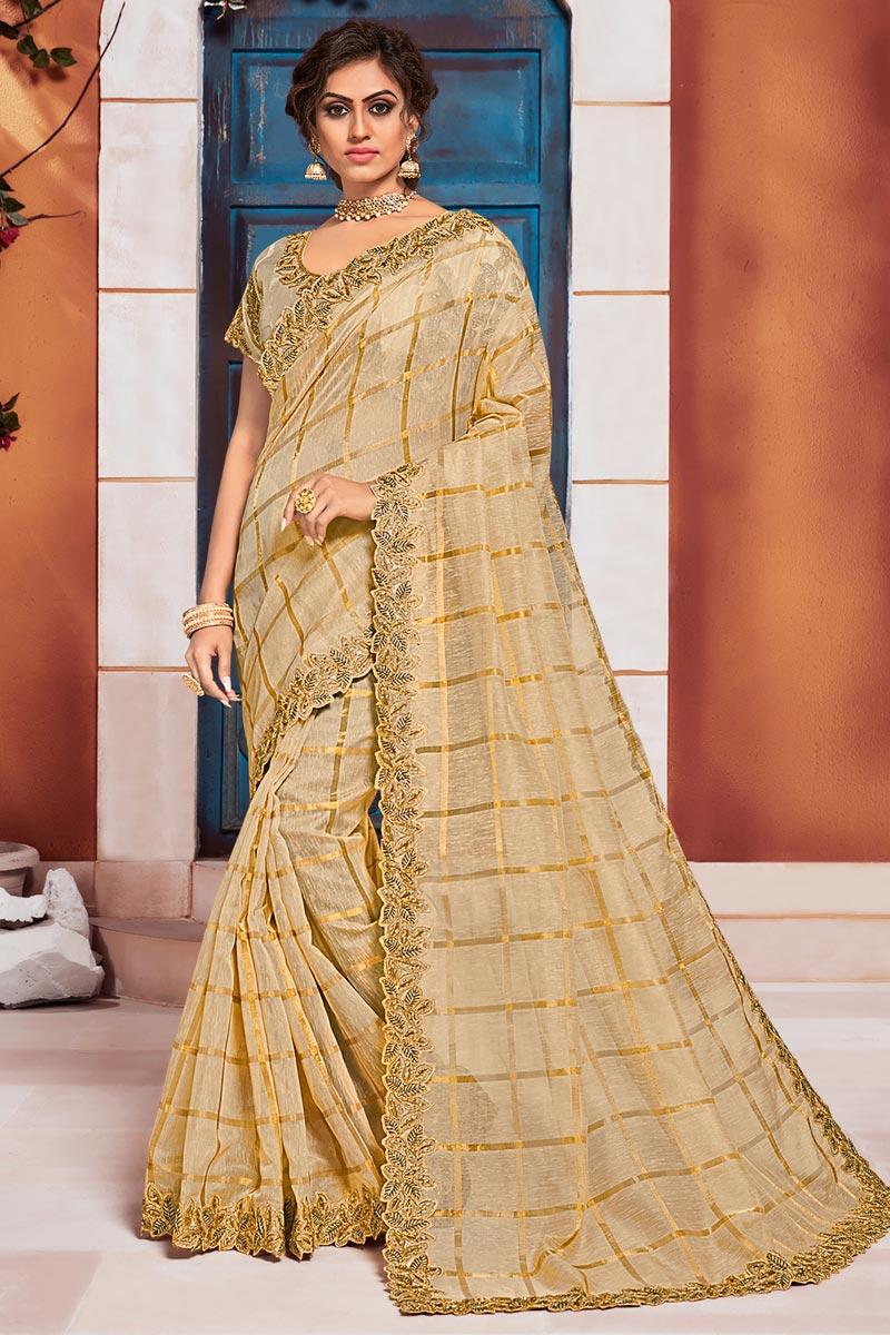 Puja Wear Beige Color Elegant Art Silk Fabric Embroidered Border Work Saree