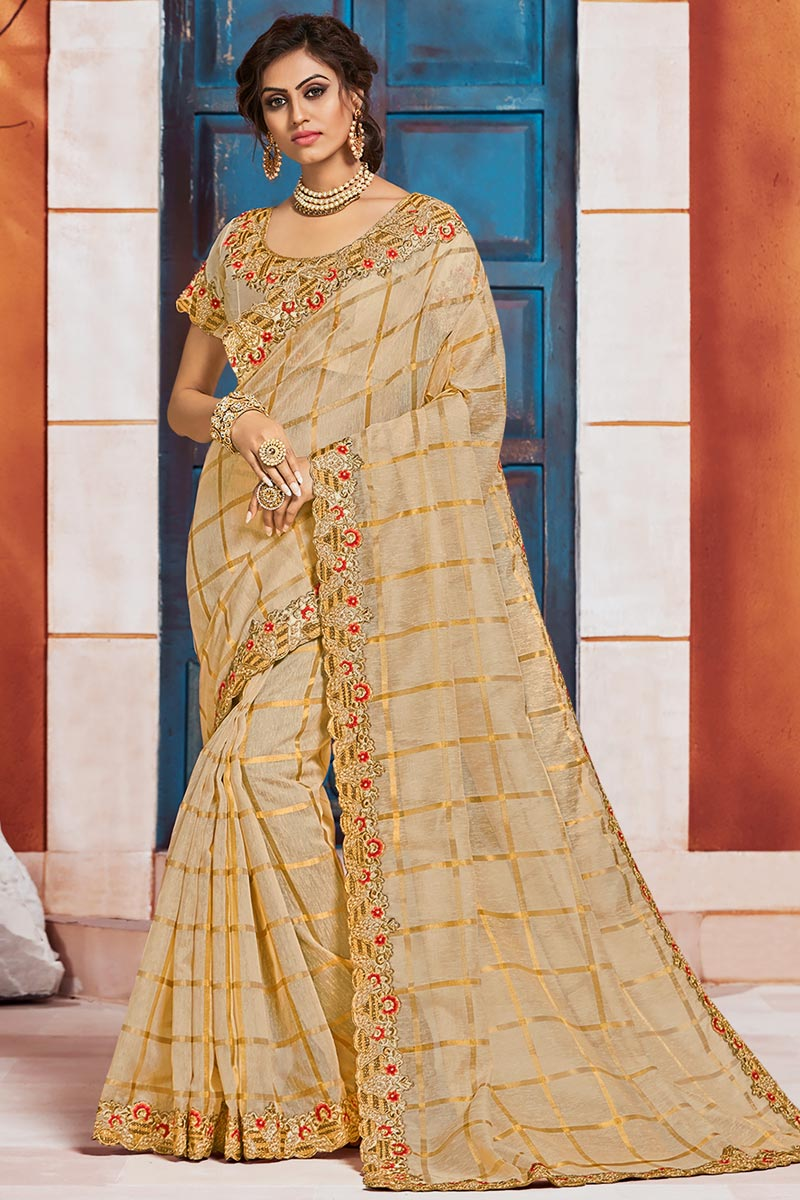 Puja Wear Beige Color Elegant Art Silk Fabric Embroidered Border Work Saree