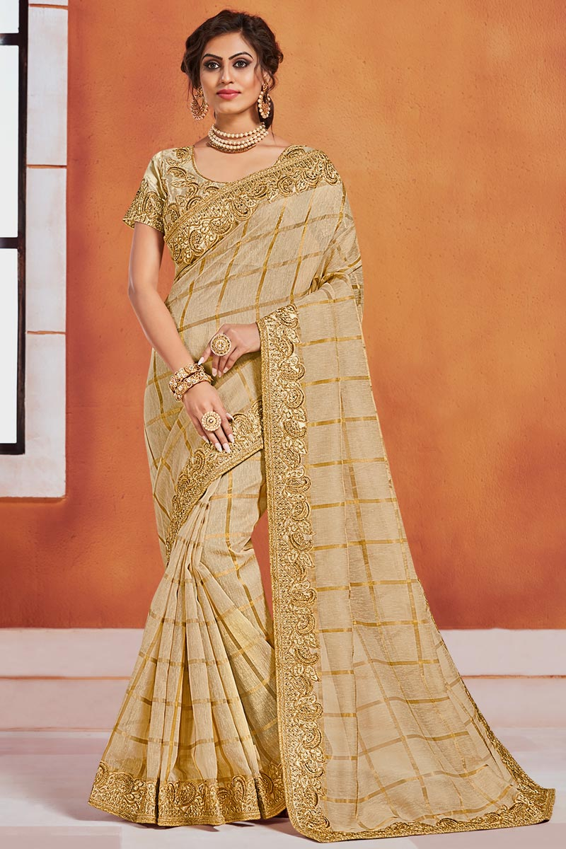 Beige Color Elegant Puja Wear Art Silk Fabric Embroidered Border Work Saree
