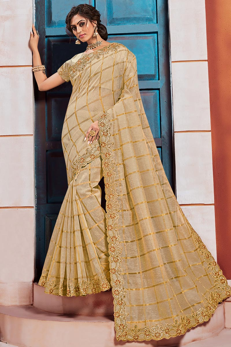 Art Silk Fabric Puja Wear Beige Color Elegant Embroidered Border Work Saree
