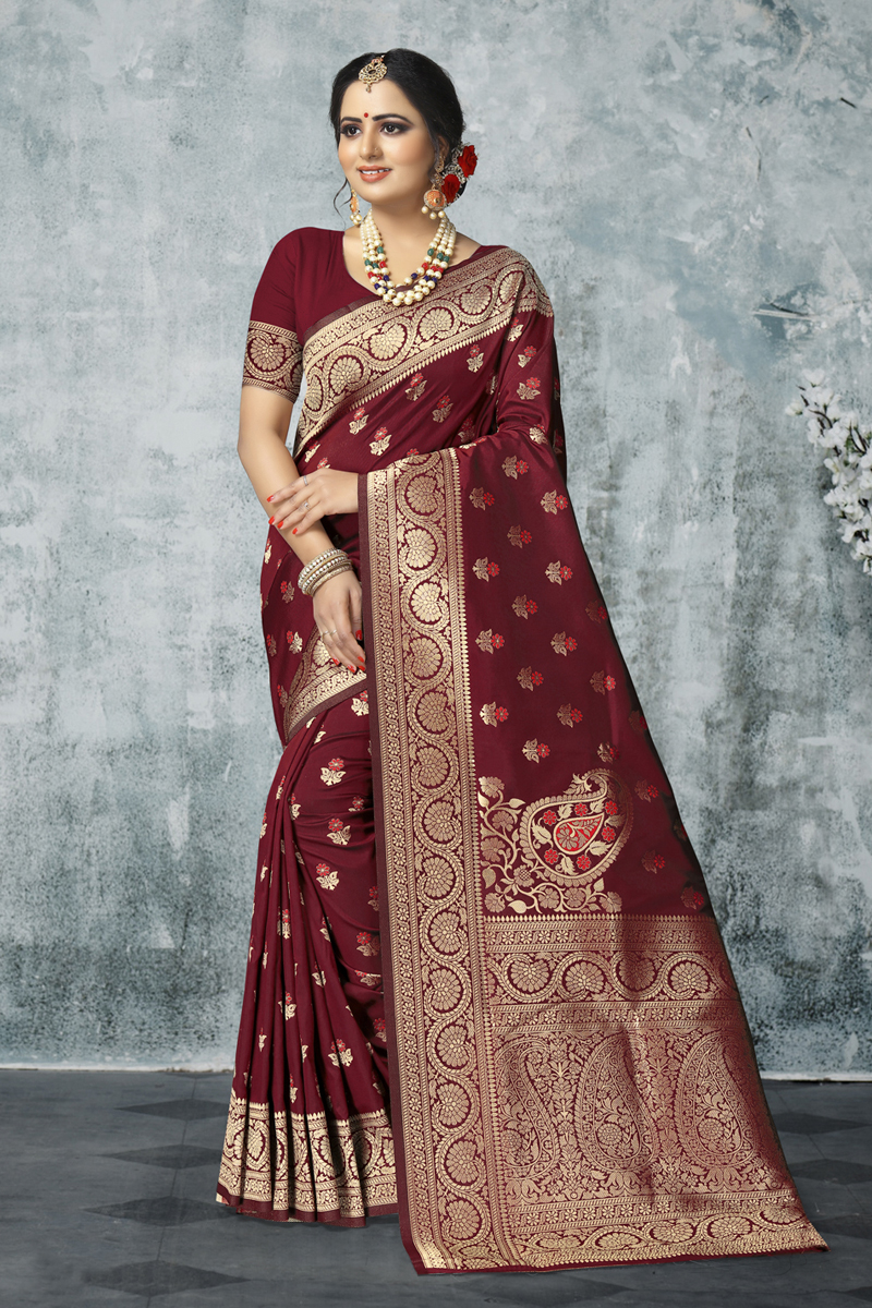 Maroon Color Weaving Work Art Silk Fabric Designer Saree