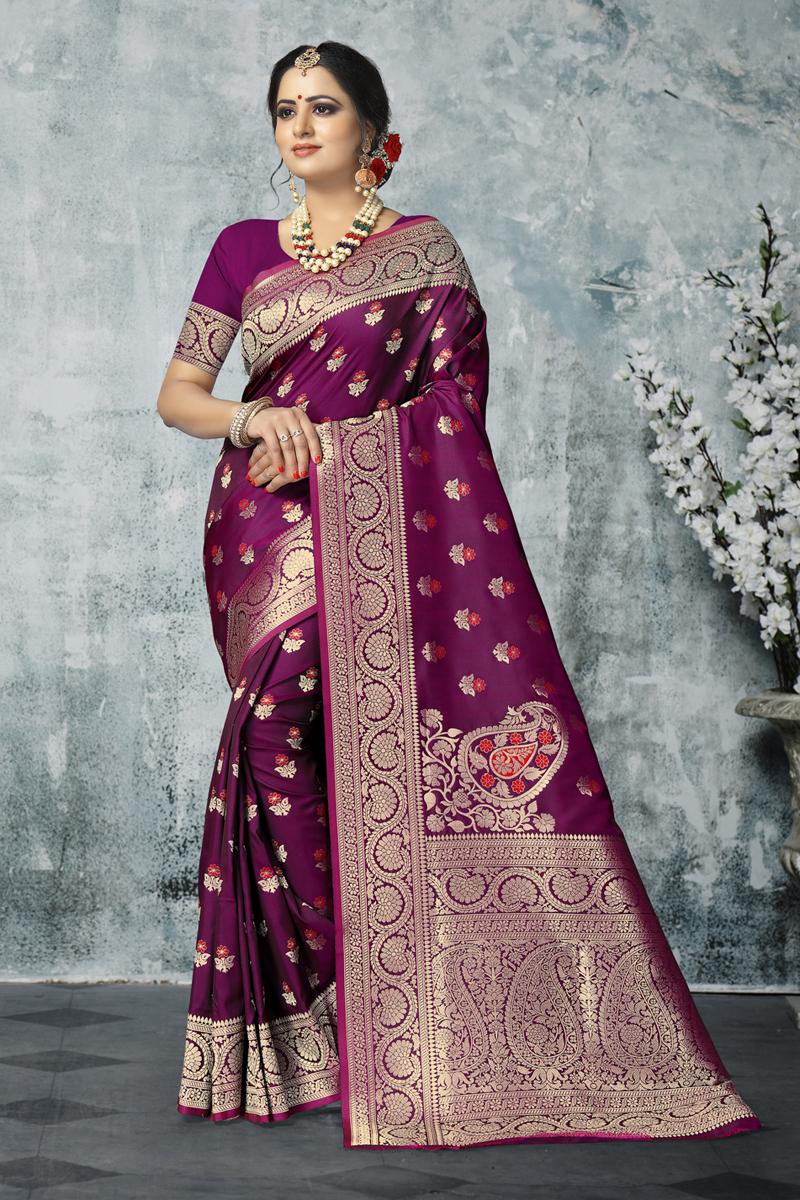 Fancy Art Silk Fabric Purple Color Saree With Weaving Work