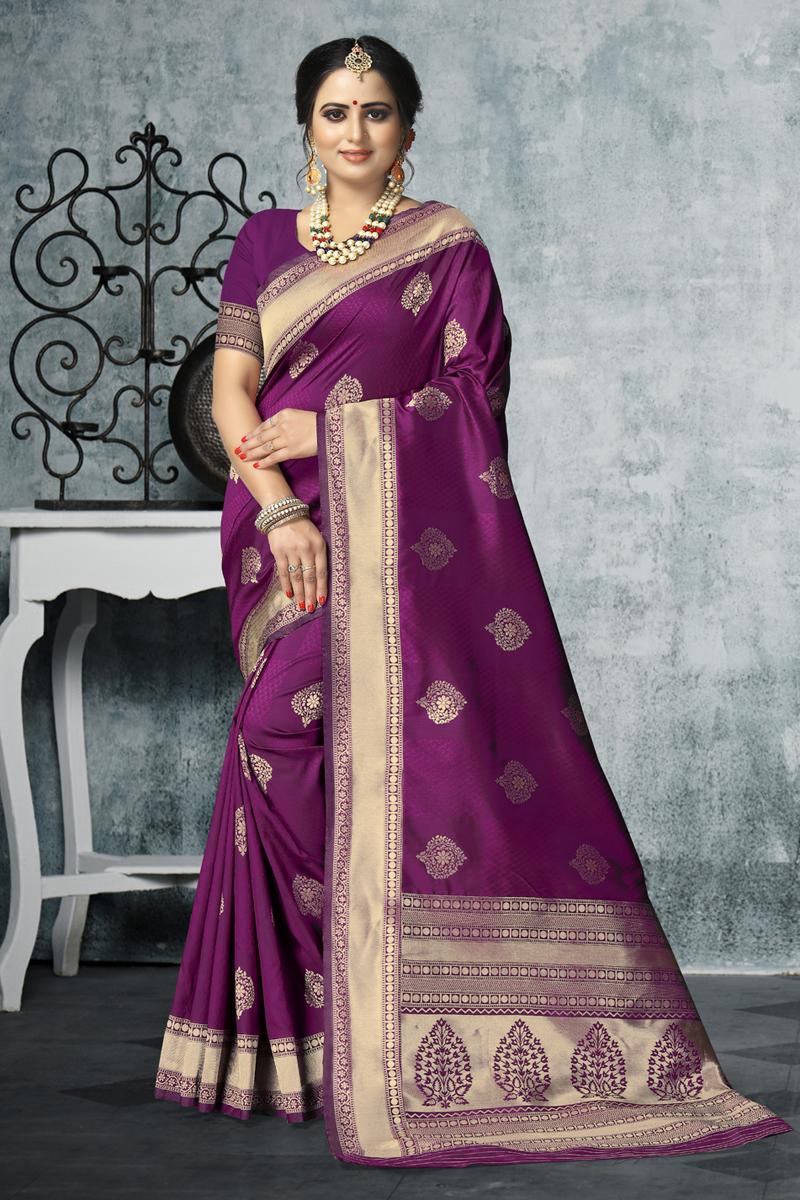 Weaving Work Art Silk Fabric Purple Color Saree