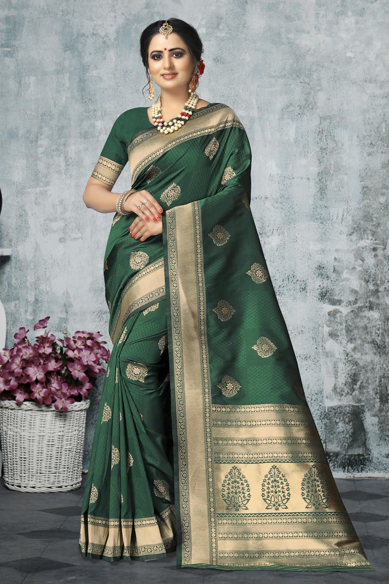 Weaving Work Designs On Dark Green Color Occasion Wear Saree In Art Silk Fabric