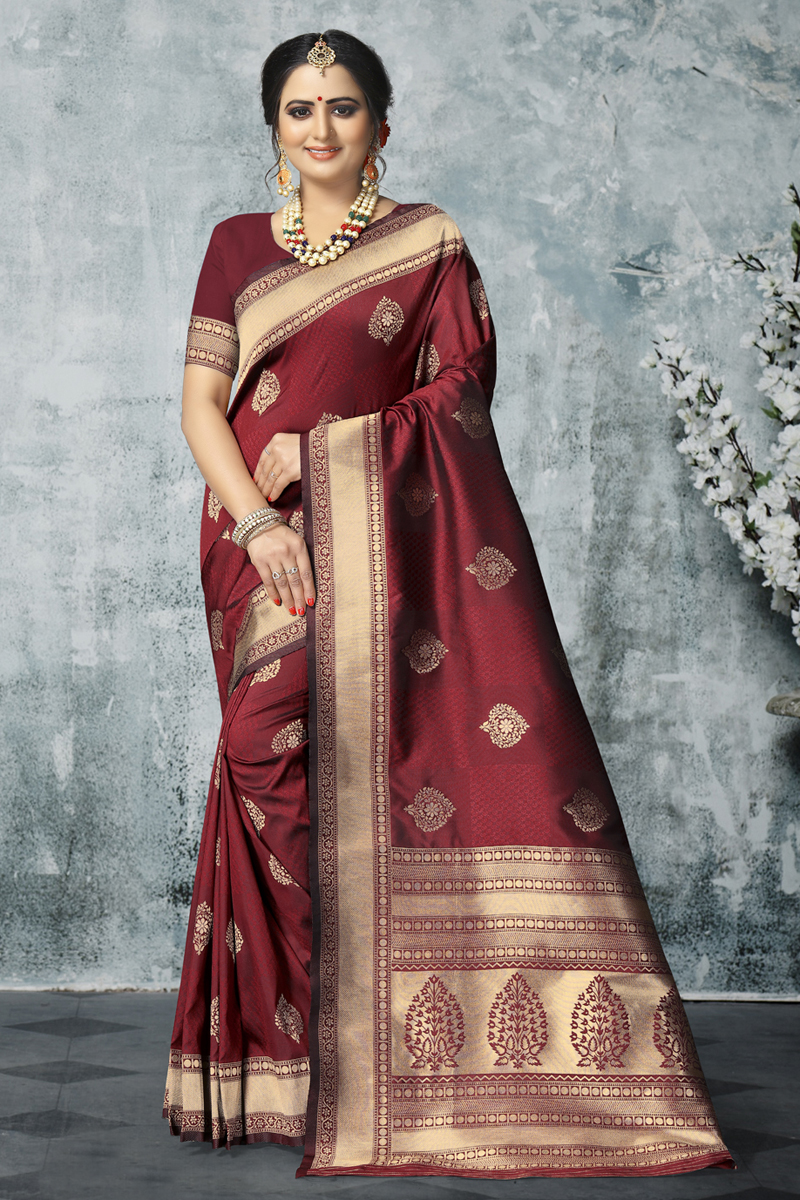 Art Silk Fabric Maroon Color Designer Saree