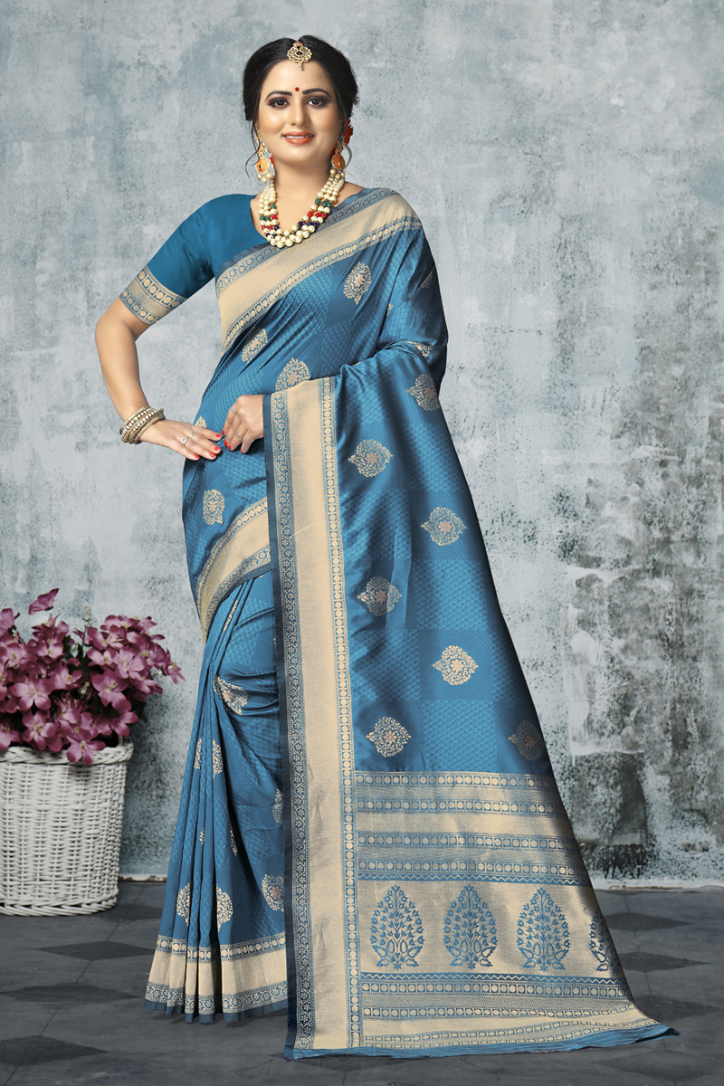 Weaving Work On Designer Saree In Sky Blue Color Art Silk Fabric