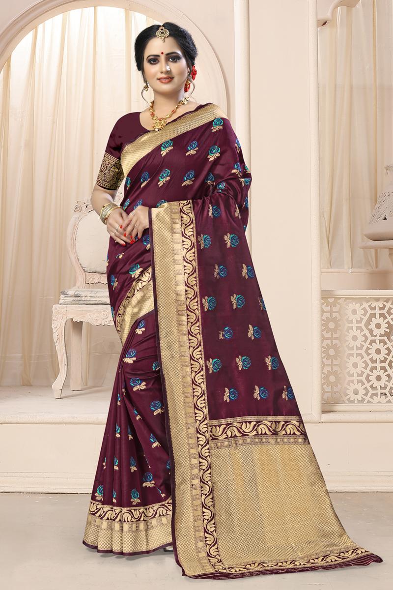 Burgundy Color Weaving Work Art Silk Fabric Traditional Saree