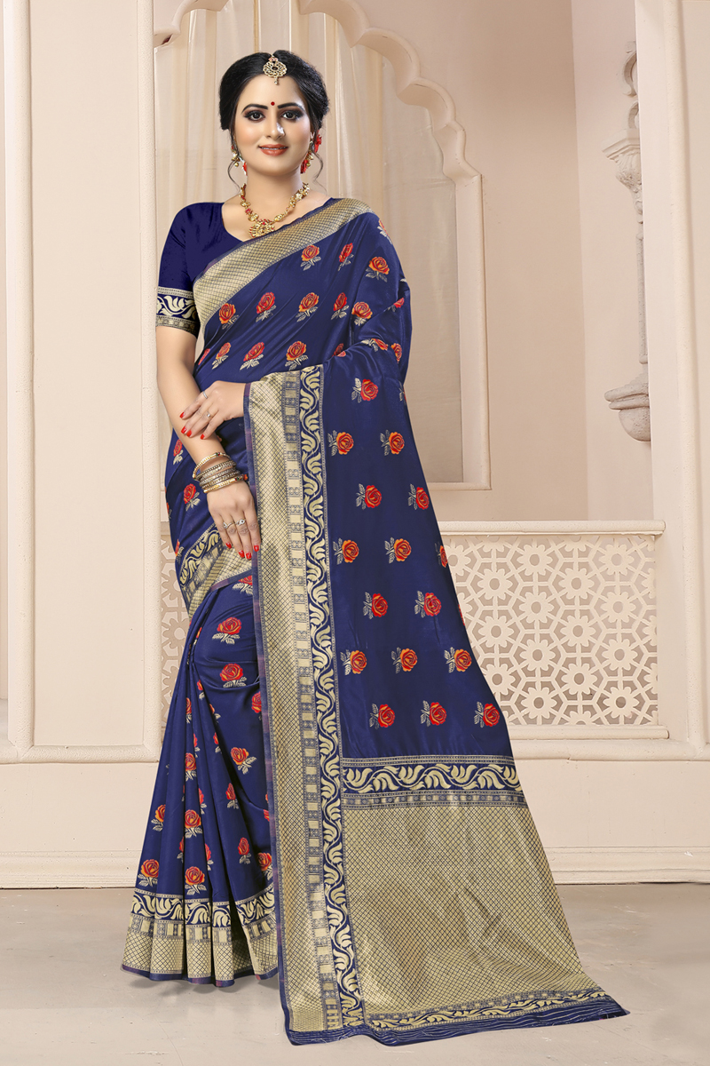 Weaving Work Navy Blue Color Traditional Saree In Art Silk Fabric