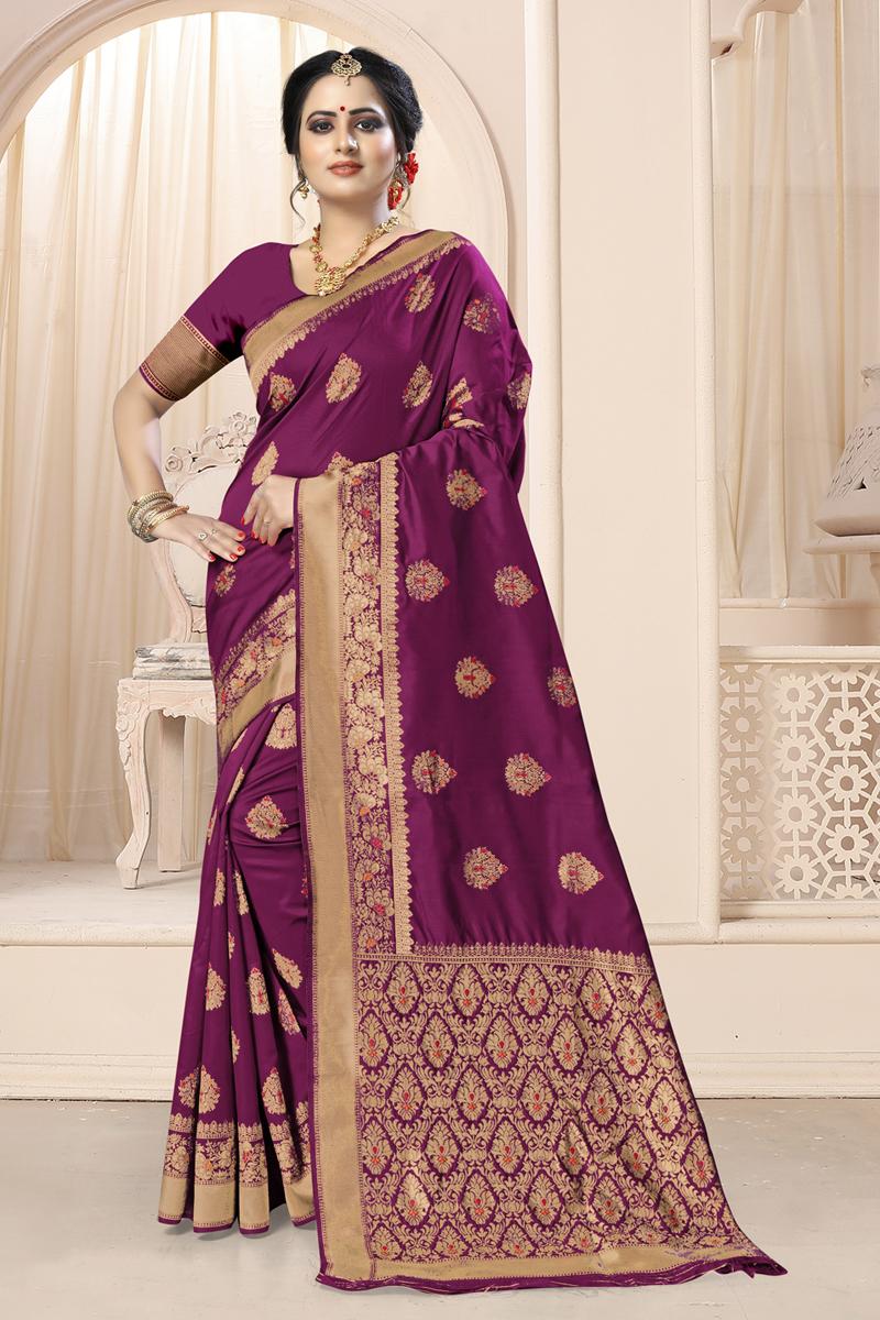 Weaving Work Art Silk Fabric Purple Color Designer Saree