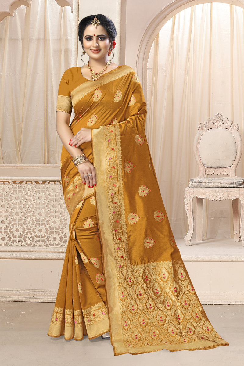 Art Silk Fabric Coffee Color Designer Saree With Weaving Work