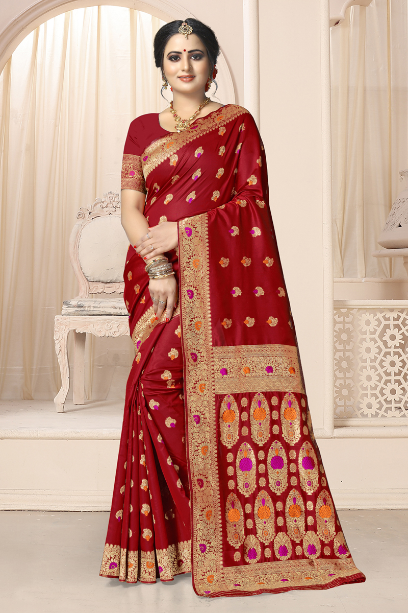 Red Color Weaving Work Art Silk Fabric Traditional Saree