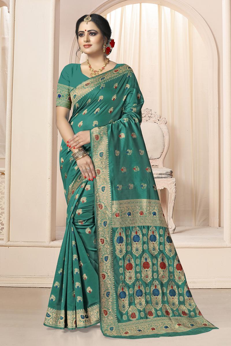 Weaving Work Dark Teal Color Traditional Saree In Art Silk Fabric