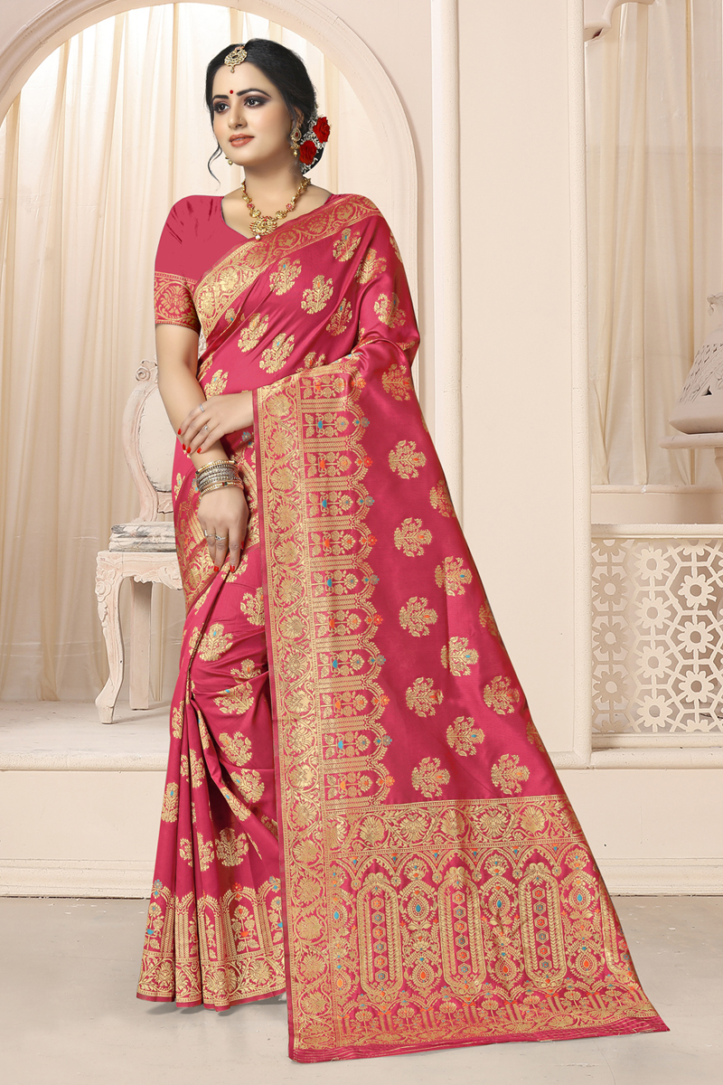 Weaving Work Art Silk Fabric Pink Color Designer Saree