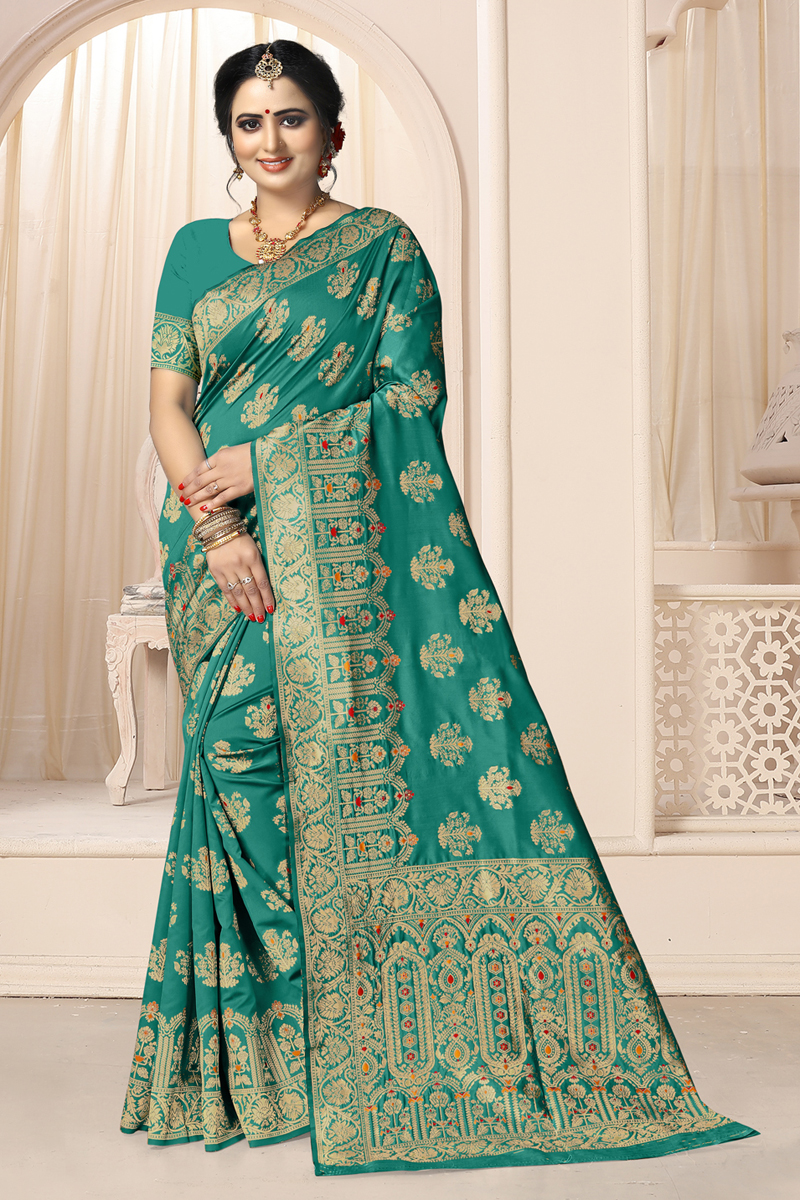 Weaving Work Traditional Teal Color Saree