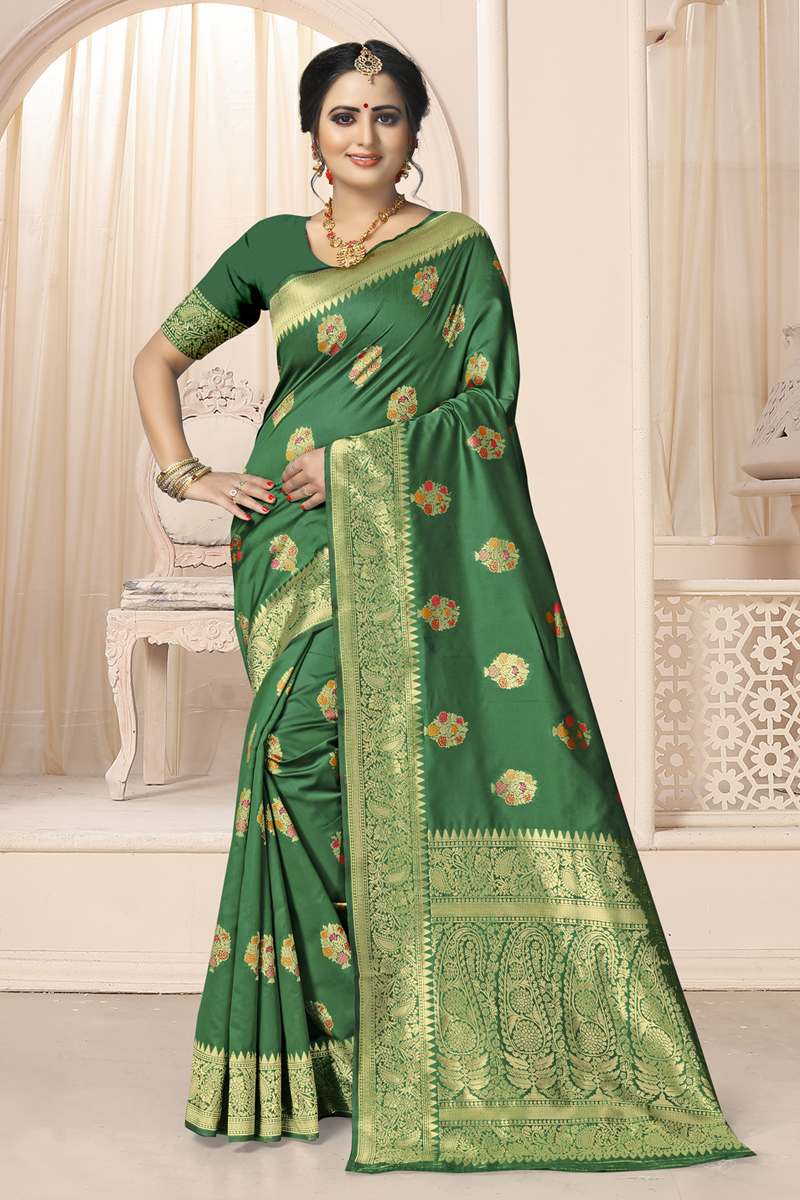 Weaving Work Art Silk Fabric Green Color Saree